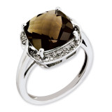 Smoky Quartz & Diamond Ring Sterling Silver QR3318SQ