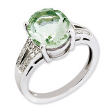 Oval Green Quartz & Diamond Ring Sterling Silver QR3319AG