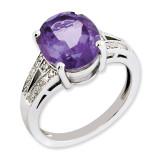 Amethyst & Diamond Ring Sterling Silver QR3319AM