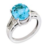 Swiss Blue Topaz & Diamond Ring Sterling Silver QR3319BT