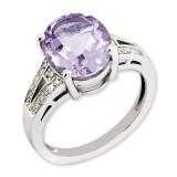 Oval Pink Quartz & Diamond Ring Sterling Silver QR3319PQ