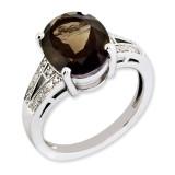 Smoky Quartz & Diamond Ring Sterling Silver QR3319SQ