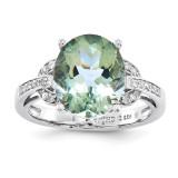Oval Green Quartz & Diamond Ring Sterling Silver QR3320AG