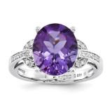 Amethyst & Diamond Ring Sterling Silver QR3320AM