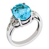 Swiss Blue Topaz & Diamond Ring Sterling Silver QR3320BT