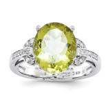 Oval Lemon Quartz & Diamond Ring Sterling Silver QR3320LQ