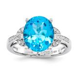 Light Swiss Blue Topaz & Diamond Ring Sterling Silver QR3320LSBT
