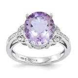 Oval Pink Quartz & Diamond Ring Sterling Silver QR3320PQ