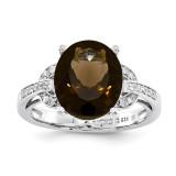 Smoky Quartz & Diamond Ring Sterling Silver QR3320SQ