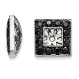 Black Diamond Square Jacket Earrings 14k White Gold XJ110A