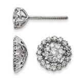 Medium Flower & Jacket Diamond Post Earrings 14k White Gold XJ94A