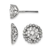 Large Flower & Jacket Diamond Post Earrings 14k White Gold XJ95A