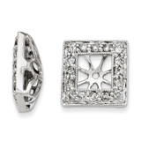 Diamond Square Jacket Earrings 14k White Gold XJ99A