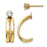 14K Yellow Gold Polished w/Cubic Zirconia Stud Earring Jackets  XY1227 UPC: 716838263134