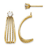 14K Yellow Gold J Hoop Polished w/Cubic Zirconia Stud Earrings  XY1229 UPC: 716838263110
