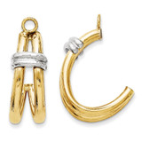 Two-tone Polished Double J-Hoop Earring Jackets 14k Gold XY614 UPC: 730703610403