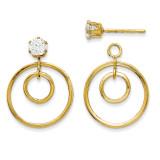 Double Circle Jacket w/Cubic Zirconia Stud 14k Gold YE1086 UPC: 730703054191