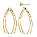 Curved Stick Jacket w/Cubic Zirconia Stud Earrings 14k Gold YE1090 UPC: 730703046752