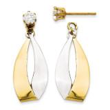 Oval Dangle Jacket w/Rhodium and Cubic Zirconia Earrings 14k Gold YE1093 UPC: 730703000495