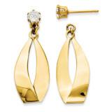Oval Dangle with Cubic Zirconia Stud Earring Jackets 14k Gold Polished YE1484 UPC: 716838210114