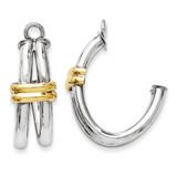 Two-tone J Hoop Earring Jackets 14k Gold YE1495 UPC: 730703021735