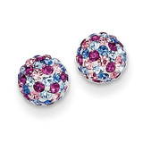 Blue Pink Multi Crystal 6mm Post Earrings 14k Gold YE1620