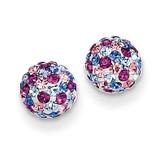 Blue Pink Multi Crystal 6mm Post Earrings 14k Gold YE1620
