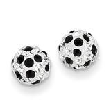Black and White Crystal 6mm Post Earrings 14k Gold YE1624