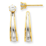 Rhodium J-Hoop with Cubic Zirconia Stud Earring Jackets 14k Gold YE542 UPC: 730703010470