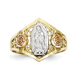 Two-tone & Rhodium Our Lady of Guadalupe Ring 10k Gold 10C1288