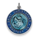 Enameled St. Christopher Medal Sterling Silver QC3530