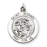 Saint Michael Medal Sterling Silver Antiqued QC3609