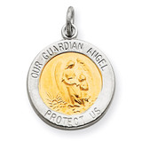 Vermeil Guardian Angel Medal Sterling Silver QC3624