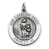 Guardian Angel Medal Sterling Silver Antiqued QC3626