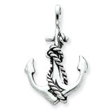 Anchor and Rope Pendant Sterling Silver Antiqued QC4972
