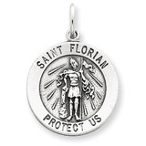 Saint Florian Medal Sterling Silver Antiqued QC5722