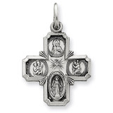 4-way Medal Sterling Silver Antiqued QC5806