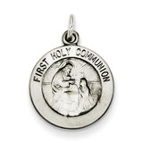 First Holy Communion Medal Sterling Silver Antiqued QC5823