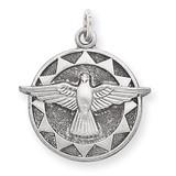 Holy Spirit Medal Sterling Silver Antiqued QC5906