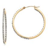 Round Hinged Hoop Earrings 14k Gold with Diamonds DF256