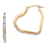 Heart Hinged Hoop Earrings 14k Gold with Diamonds DF258