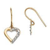 Heart Earrings 14k Gold with Diamonds DF262