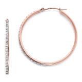 Round Hinged Hoop Earrings 14k Rose Gold with Diamonds DF269
