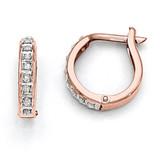 Round Hinged Hoop Earrings 14k Rose Gold with Diamonds DF271
