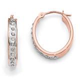 Oval Hinged Hoop Earrings 14k Rose Gold with Diamonds DF276