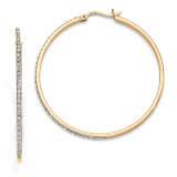 Mystique Round Hoop Earrings Sterling Silver & Gold-plated with Diamonds QDF122