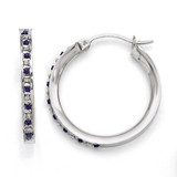 Sapphire Round Hoop Earrings Sterling Silver with Diamonds QDF132