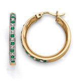 Emerald Round Hoop Earrings Sterling Silver & Gold-plated with Diamonds QDF133