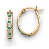 Emerald Oval Hoop Earrings Sterling Silver & Gold-plated with Diamonds QDF139