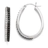Oval Hinged Hoop Earrings Sterling Silver Black & White Diamond QDF143